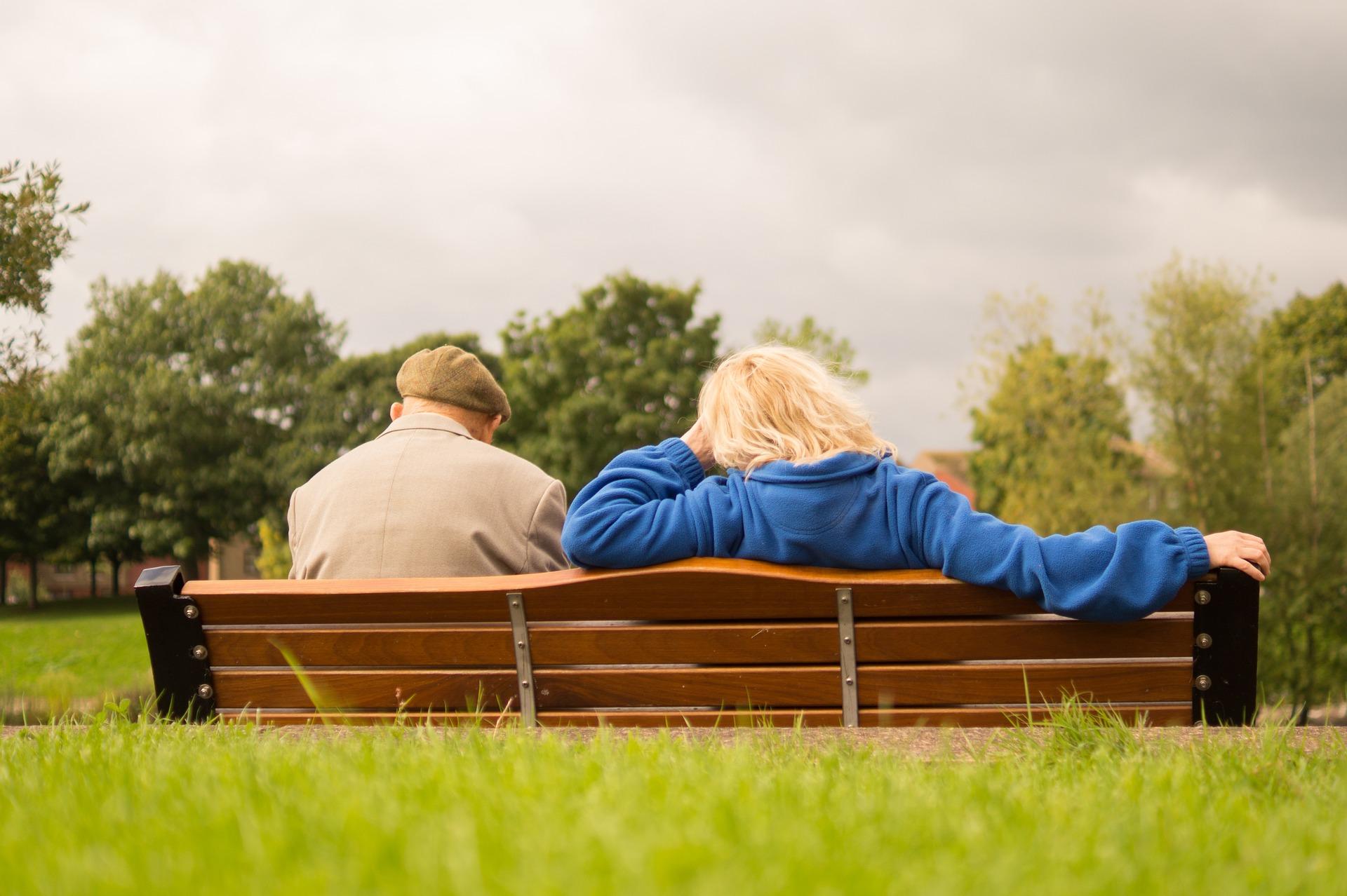 Elderly on a park bench