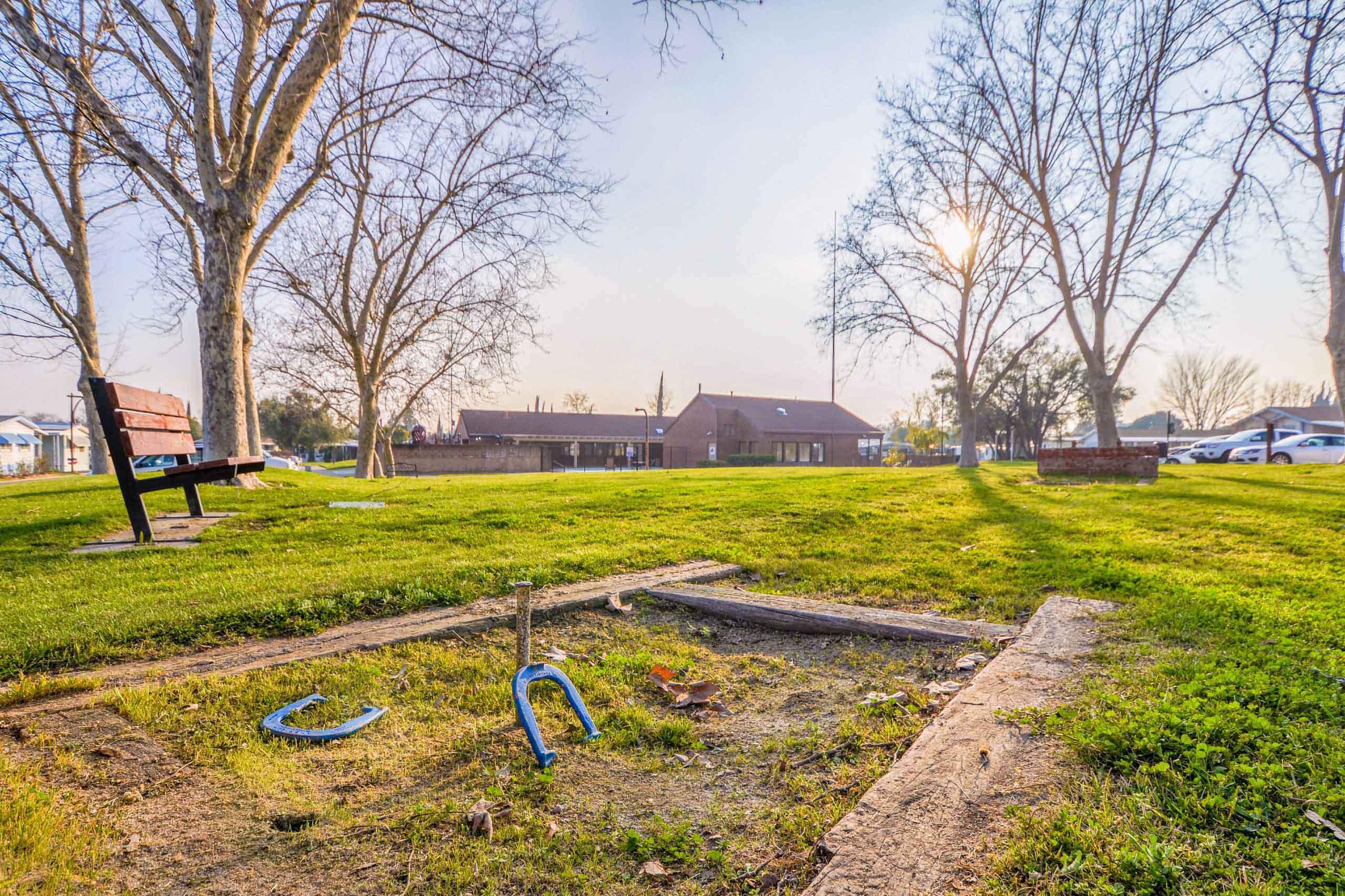 community park with horseshoes